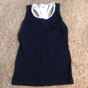 Navy blue and white Cabi tank top